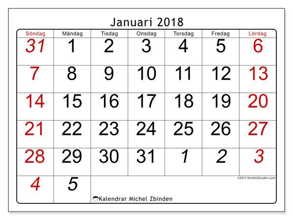 Kalender januari 2018 (72SL). Kalender för att skriva ut gratis.