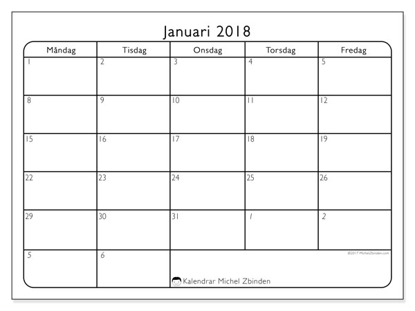 Kalendrar januari 2018 (74MS).