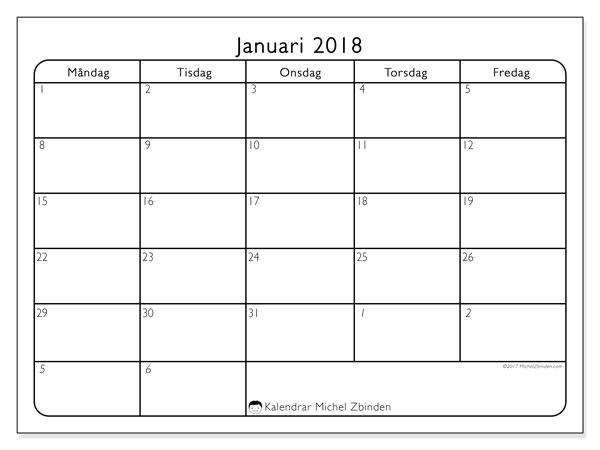 Kalender januari 2018 (74MS). Gratis kalender att skriva ut.