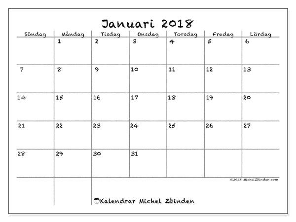 Kalender januari 2018 (77SL). Månadskalender för att skriva ut gratis.