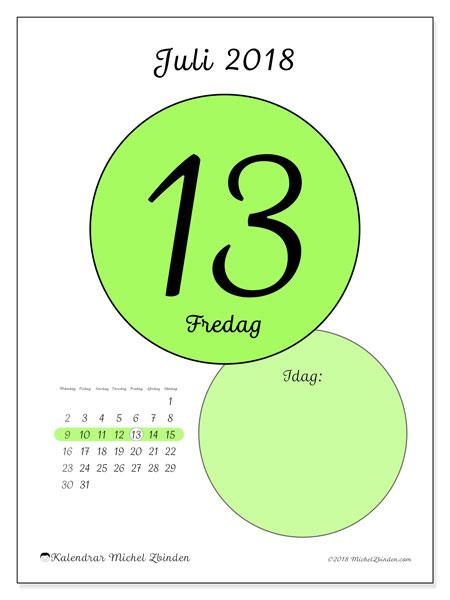 Kalender juli 2018 (45-13MS). Daglig kalender för att skriva ut gratis.