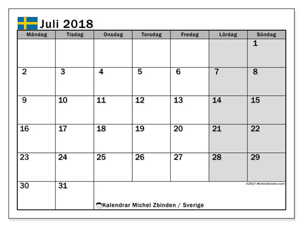 Kalender juli 2018, med helgdagar i sverige. Kalender för året att skriva ut gratis.