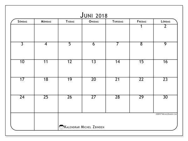 Kalender juni 2018 (51SL). Kalender för året att skriva ut gratis.