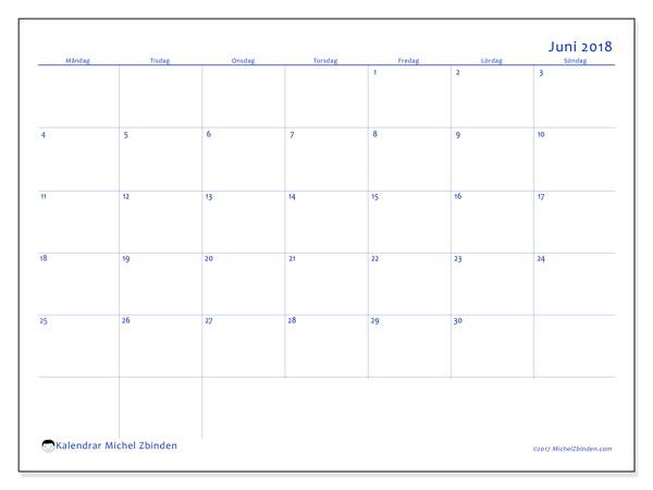 Kalender juni 2018 (55MS). Gratis kalender att skriva ut.