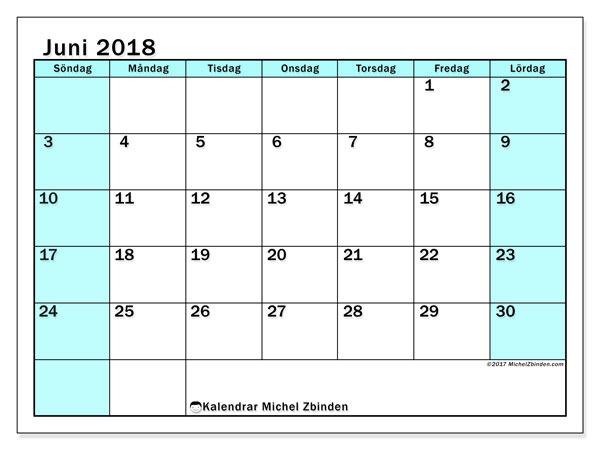 Kalender juni 2018 (59SL). Kalender för att skriva ut gratis.