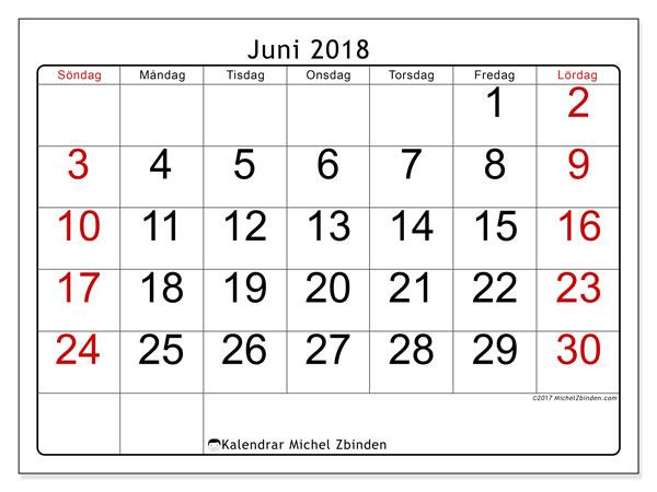 Kalender juni 2018 (62SL). Gratis kalender att skriva ut.