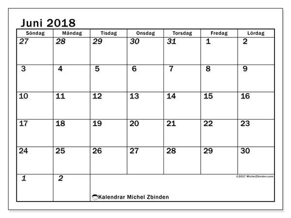 Kalender juni 2018 (66SL). Gratis kalender att skriva ut.