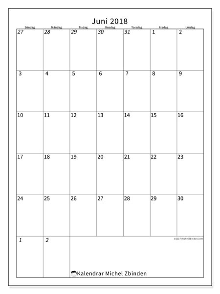 Kalender  juni 2018, 68SL