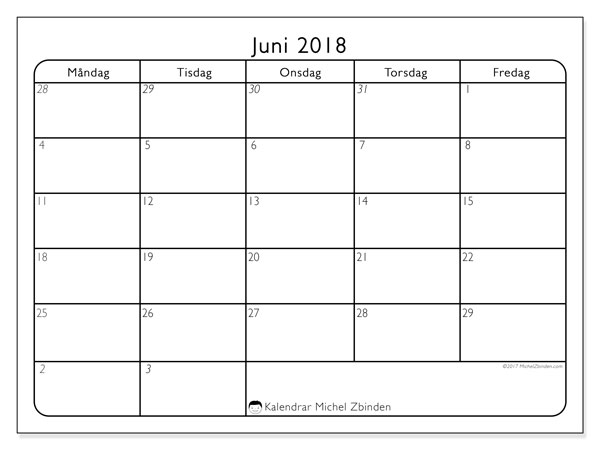 Kalender juni 2018 (74MF). Gratis kalender att skriva ut.
