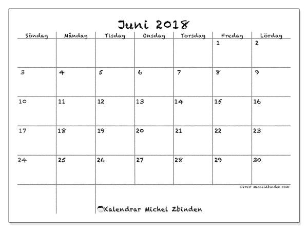 Kalender juni 2018 (77SL). Kalender för gratis utskrift.