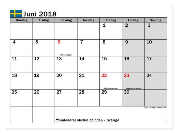 Kalender juni 2018, med helgdagar i sverige. Gratis kalender att skriva ut.
