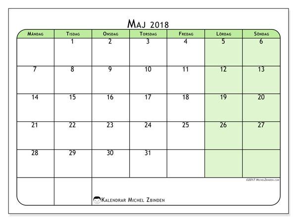Kalender maj 2018 (65MS). Månadskalender för att skriva ut gratis.