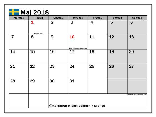 Kalender maj 2018, med helgdagar i sverige. Schema för att skriva ut gratis.