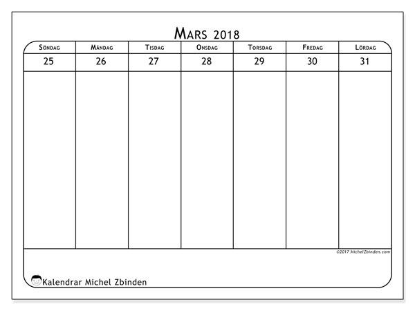 Kalender mars 2018 (43-5SL). Kalender för veckan att skriva ut gratis.
