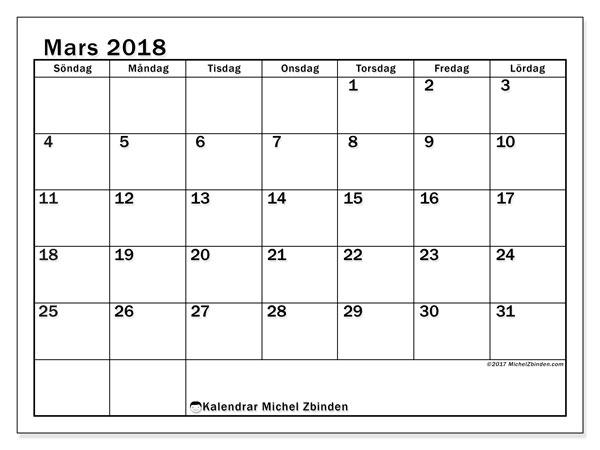 Kalender mars 2018 (50SL). Kalender för gratis utskrift.