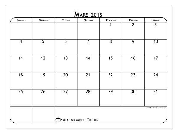 Kalender mars 2018 (51SL). Gratis utskrivbara kalender.