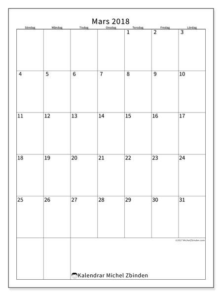 Kalender mars 2018 (52SL). Gratis utskrivbara kalender.