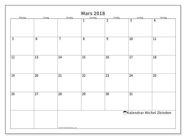 Kalender  mars 2018, 53MS