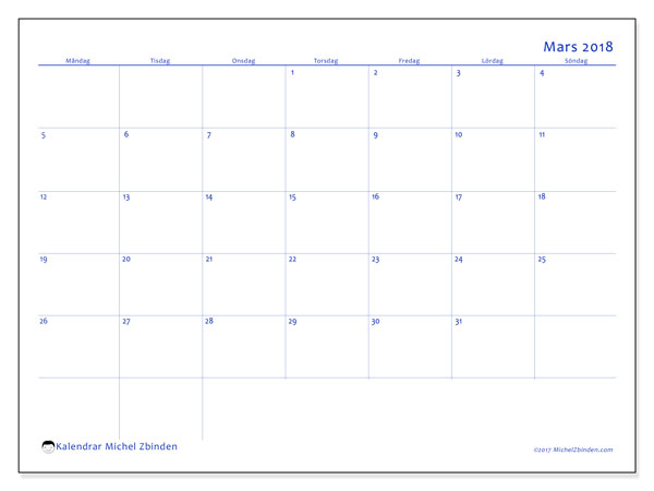 Kalender mars 2018 (55MS). Månadskalender för att skriva ut gratis.