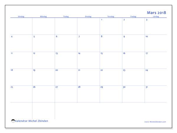 Kalender mars 2018 (55SL). Gratis kalender att skriva ut.