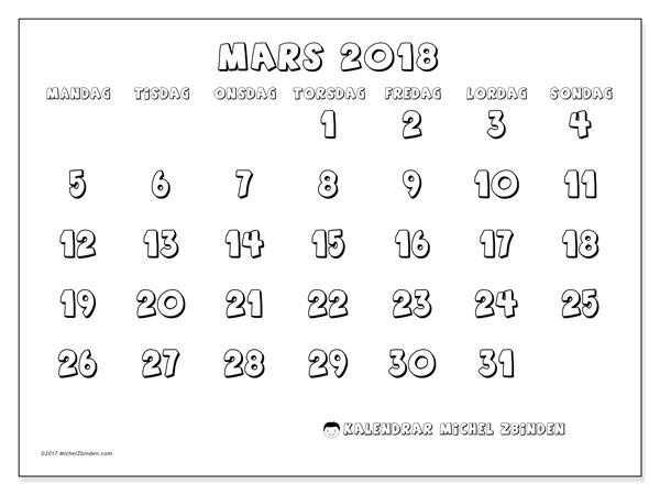 Kalender mars 2018 (56MS). Kalender för året att skriva ut gratis.