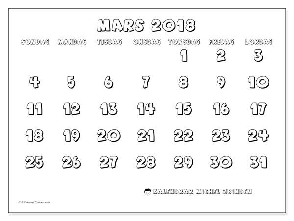 Kalender mars 2018 (56SL). Kalender för gratis utskrift.