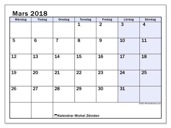 Kalender mars 2018 (57MS). Almanak för att skriva ut gratis.