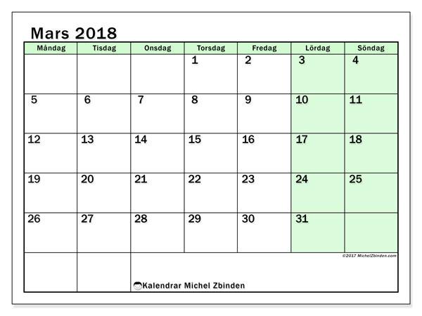 Kalender mars 2018 (60MS). Månadskalender för att skriva ut gratis.