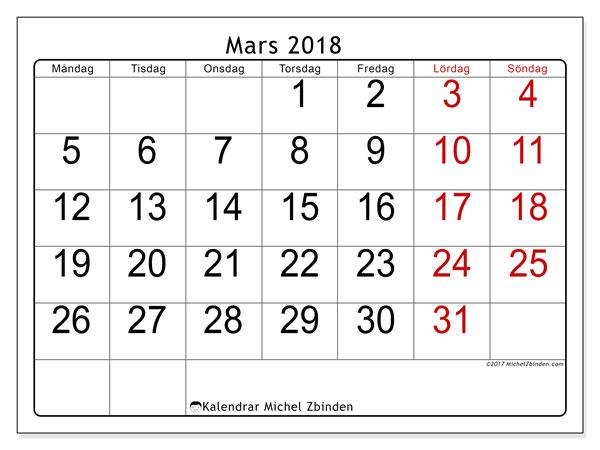 Kalender mars 2018 (62MS). Kalender för gratis utskrift.