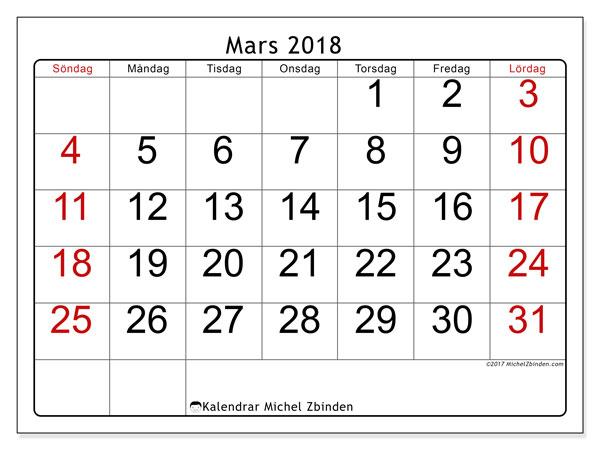 Kalender mars 2018 (62SL). Gratis kalender att skriva ut.
