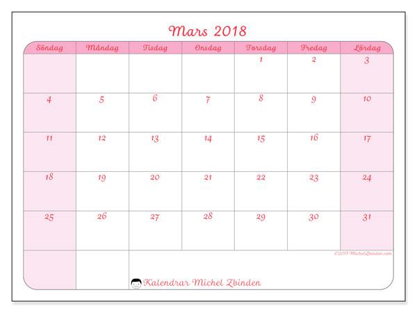 Kalender mars 2018 (63SL). Månadskalender för att skriva ut gratis.