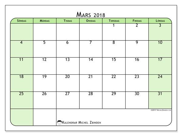 Kalender mars 2018 (65SL). Månadskalender för att skriva ut gratis.