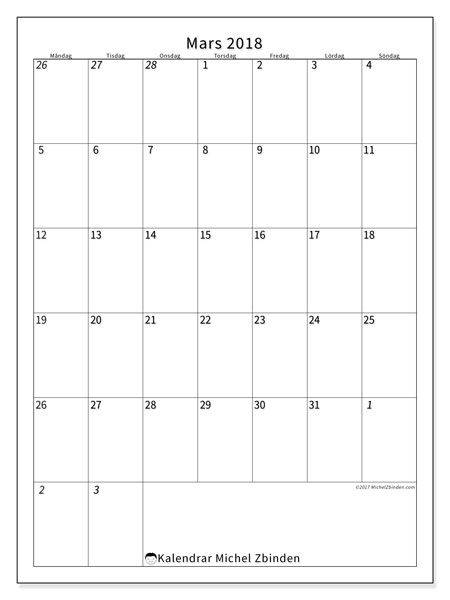 Kalender mars 2018 (68MS). Almanak för att skriva ut gratis.