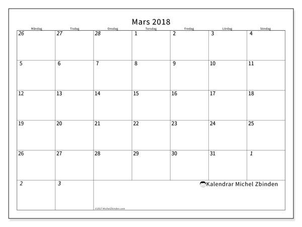 Kalender mars 2018 (70MS). Almanak för att skriva ut gratis.