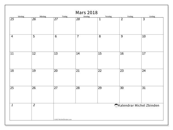 Kalender mars 2018 (70SL). Kalender för att skriva ut gratis.