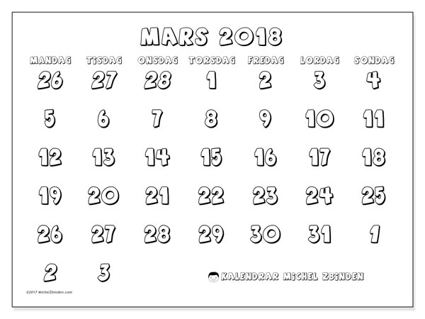 Kalender mars 2018 (71MS). Gratis utskrivbara kalender.