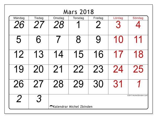 Kalender mars 2018 (72MS). Månadskalender för att skriva ut gratis.