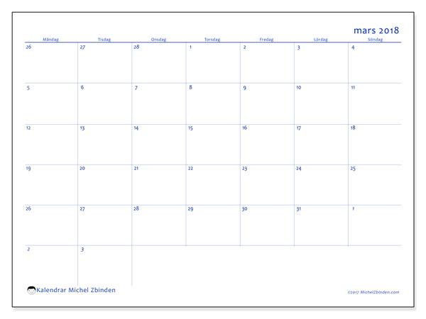 Kalender mars 2018 (73MS). Gratis kalender att skriva ut.