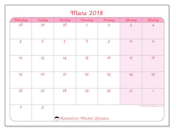 Kalender mars 2018 (76MS). Kalender för gratis utskrift.