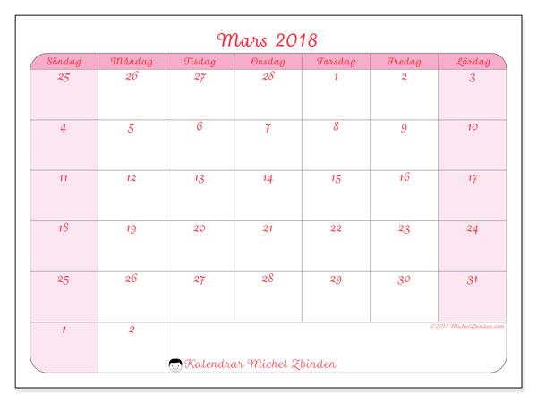 Kalender mars 2018 (76SL). Kalender för att skriva ut gratis.