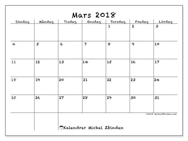 Kalender mars 2018 (77SL). Kalender för gratis utskrift.