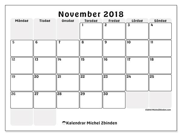 Kalender november 2018 (44MS). Almanak för att skriva ut gratis.
