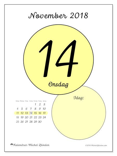 Kalender november 2018 (45-14SL). Daglig kalender för att skriva ut gratis.