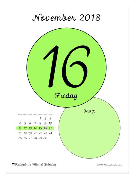 Kalender november 2018 (45-16SL). Daglig kalender för att skriva ut gratis.