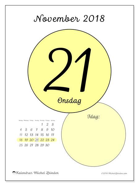 Kalender november 2018 (45-21SL). Daglig kalender för att skriva ut gratis.
