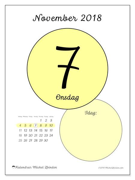 Kalender november 2018 (45-7SL). Daglig kalender för att skriva ut gratis.
