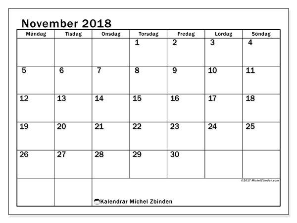 Kalender november 2018 (50MS). Kalender för gratis utskrift.
