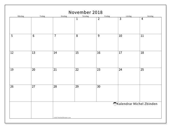 Kalender november 2018 (53MS). Kalender för året att skriva ut gratis.