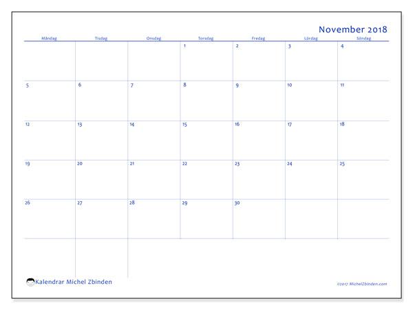 Kalender november 2018 (55MS). Almanak för att skriva ut gratis.
