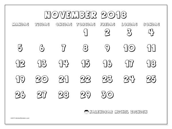 Kalender november 2018 (56MS). Månadskalender för att skriva ut gratis.